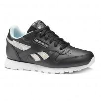 Reebok Classic Leather Shoes Girls Ss-Black/Dreamy Blue/Tin Grey/Wht DV3615