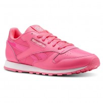 Reebok Classic Leather Shoes Girls Acid Pink/White CN5690