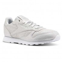 Reebok Classic Leather Shoes Girls Ms-Silver Met/Skull Grey/White CN5581