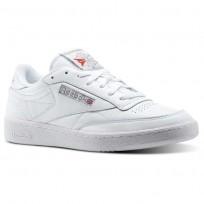 Reebok Club C 85 Shoes Mens White/Carbon/Excellent Red CN0648