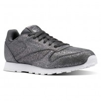 Reebok Classic Leather Shoes Girls Ms-Pewter/Ash Grey/White CN5587