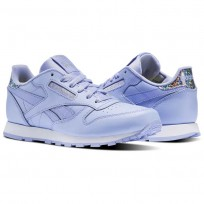 Reebok Classic Leather Shoes Girls Lilac Glow/White BS8978