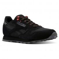 Reebok Classic Leather Shoes Kids Explore-Black/Alloy/Carotene CN4705