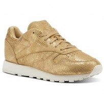 Reebok Classic Leather Shoes Womens Gold/Chalk CN0574