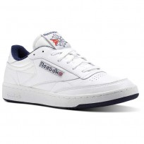 Reebok Club C 85 Shoes Mens White/Collegiate Navy/Excellent Red CN0646