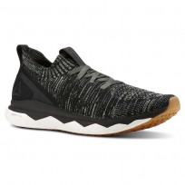 Reebok Floatride RS ULTK Running Shoes Mens Black/Chalk Green/Parchment/Gum/Skull Grey CN2568