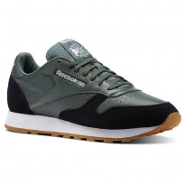 Reebok Classic Leather Shoes Mens Chalk Green/Black/White-Gum BS9746