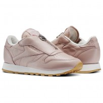 Reebok Classic Leather Shoes Womens Shell Pink/Chalk/Silver Metallic BS8065