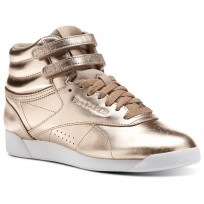 Reebok Freestyle HI Shoes Womens Rose Gold/White/Silver Peony CN0573