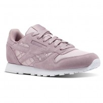 Reebok Classic Leather Shoes Girls Satin-Infused Lilac/White CN5514