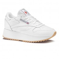 Reebok Classic Leather Shoes Womens White/Silver Met/Gum DV6472