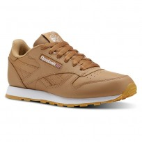 Reebok Classic Leather Shoes Kids Gum-Soft Camel/White CN5610