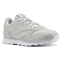 Reebok Classic Leather Shoes Girls Ms-Silver Met/Skull Grey/White CN5582