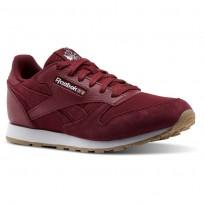 Reebok Classic Leather Shoes Boys Urban Maroon/White CN1134